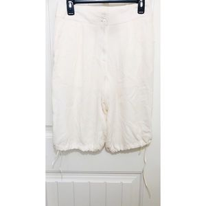 Boy Band of Outsiders Cropped Ivory Silk Pants 2 M
